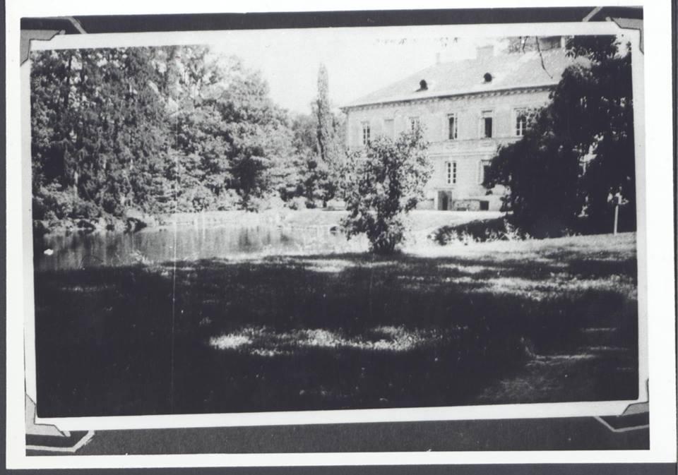 Dobrzyca - pałac zza stawu stare zdjęcie