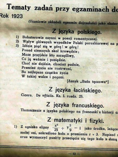 """Pierwsza matura w """"Staszku"""" 98 lat temu"""